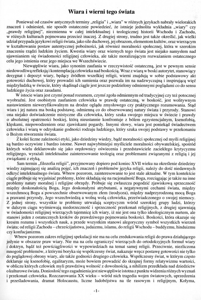 Tekst do WIARY i WIERNI TEGO ŚWIATA -Strona 1,po polsku